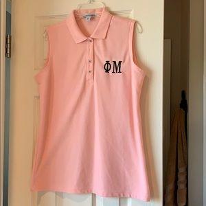 2 Phi Mu sleeveless pink polo shirt